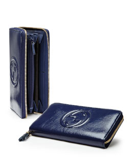 Gucci Patent Zip Around Wallet, Uniform Blue Navy