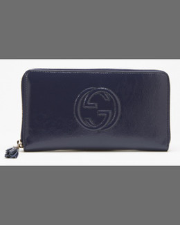 Gucci Soho Patent Zip Around Wallet, Uniform Blue Navy