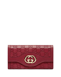 Gucci Guccissima Continental Flap Wallet, Raspberry Red