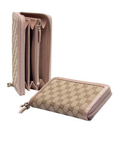 Gucci Bree Original GG Canvas Zip Around Wallet, Beige/Cipra