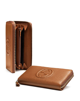 Gucci Soho Leather Zip-Around Wallet, Blush Cognac