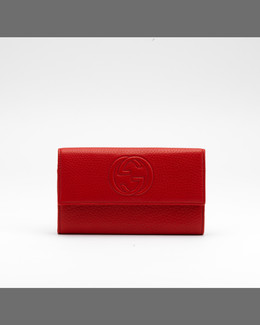 Gucci Soho Continental Leather Wallet, Blush Cognac