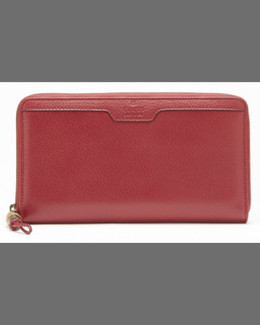 Gucci Bamboo Leather Travel Wallet, Raspberry Candy
