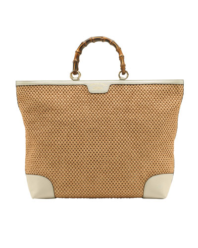 Gucci Bamboo Large Shopper Straw Tote Bag, Natural/White