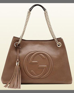 Gucci Soho Leather Chain Shoulder Bag, Mystic White