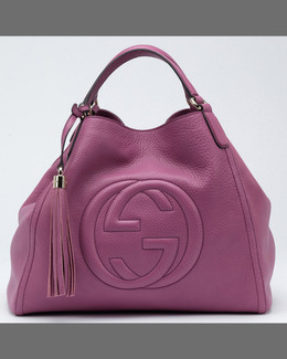 Gucci Soho Medium Leather Shoulder Bag, Dusty Blush Cognac