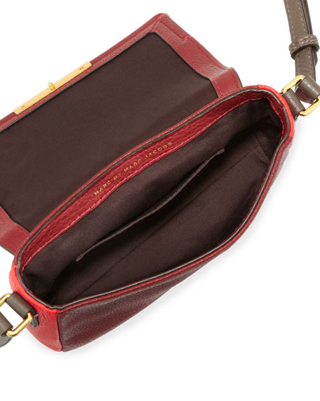 Katie Colorblock Flap Crossbody Bag, Cabernet/Red