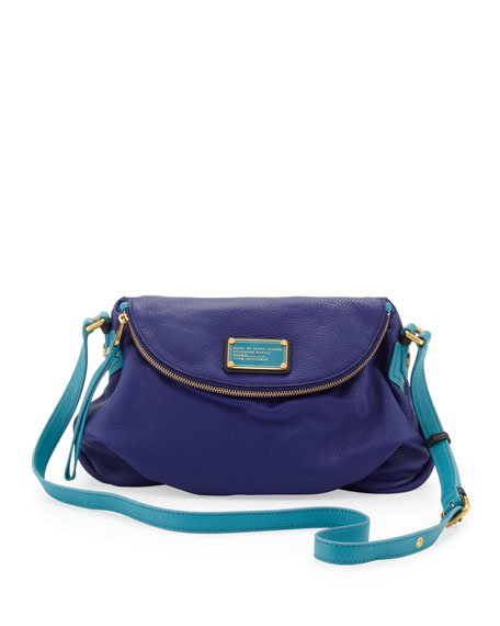 Natasha Medium Two-Tone Crossbody Bag, Bright Royal