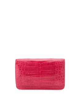 Nancy Gonzalez Crocodile Wallet on a Chain, Pink