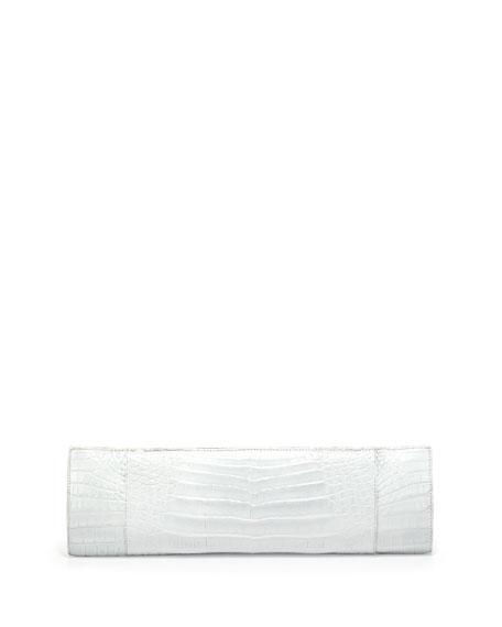 Slicer Crocodile Clutch Bag, White