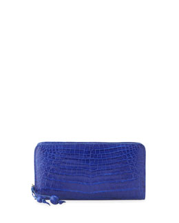 Nancy Gonzalez Crocodile Zip Continental Wallet, Royal Blue