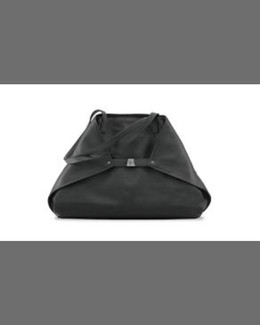 Akris Ai Medium Leather Tote Bag, Black