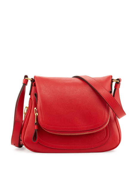 Jennifer Calfskin Crossbody Bag, Dark Orange