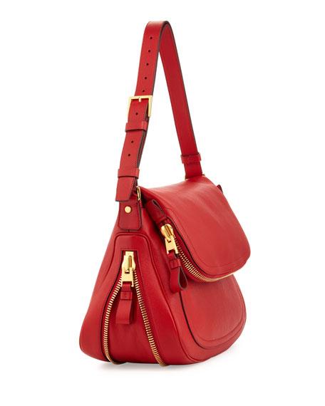 Jennifer Medium Leather Shoulder Bag, Dark Orange