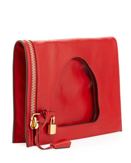 Alix Small Padlock & Zip Flat Bag, Dark Orange