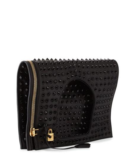 Alix Studded Leather Padlock & Zip Shoulder Bag, Black