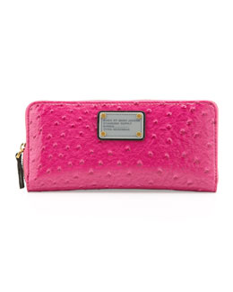 MARC by Marc Jacobs Classic Q Ostrich-Embossed Slim Zip Wallet, Pop Pink