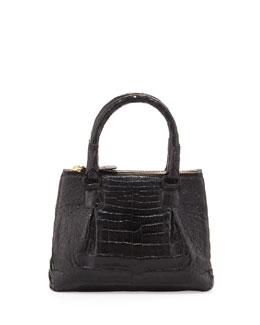 Nancy Gonzalez Mini Open-Top Crocodile Tote Bag, Black