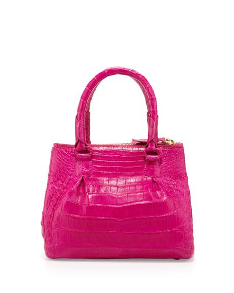 Nancy Gonzalez Crocodile Mini Double-Zip Tote Bag, Pink