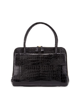 Nancy Gonzalez Large Crocodile Flap Work Satchel Bag, Black