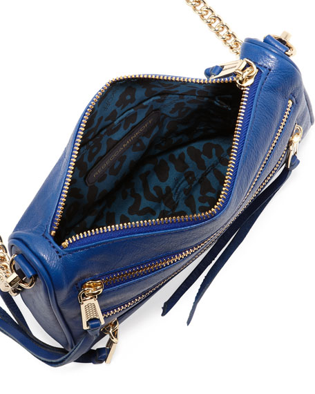 Five-Zip Mini Crossbody Bag, Metallic Blue