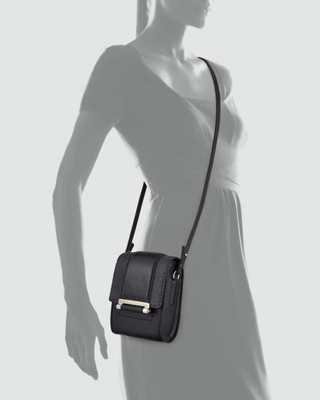 Parker Mini Leather Crossbody Bag, Black