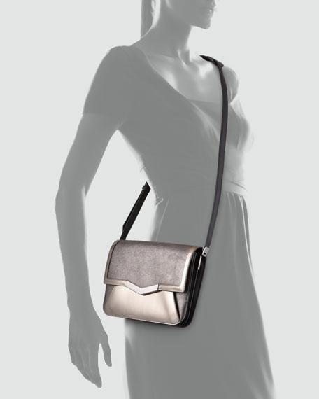 Affine Small Metallic Shoulder Bag, Mica/Mercury