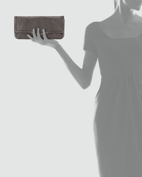 Gya Metallic Leather Clutch Bag, Mica/Gunmetal