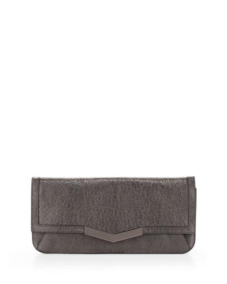 Gya Metallic Leather Clutch Bag, Mica/Gunmetal