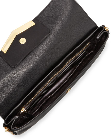 Meridian Zip-Side Flap Clutch Bag, Black
