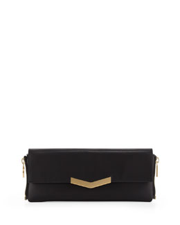Time's Arrow Meridian Zip-Side Flap Clutch Bag, Black
