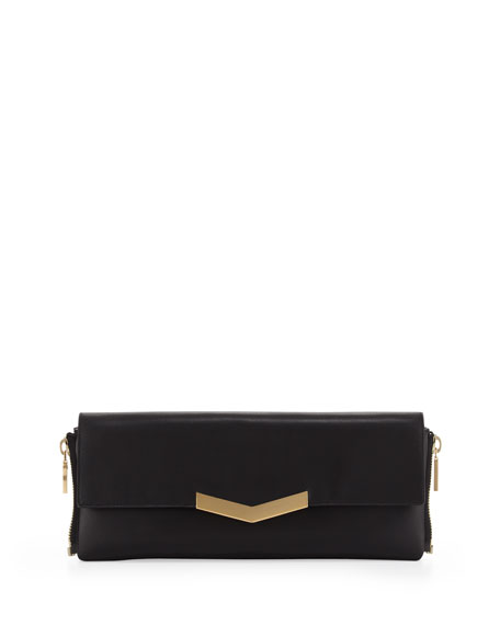 Meridian Zip-Side Flap Clutch Bag, Black