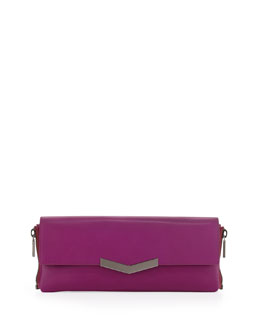 Time's Arrow Meridian Zip-Side Flap Clutch Bag, Magenta