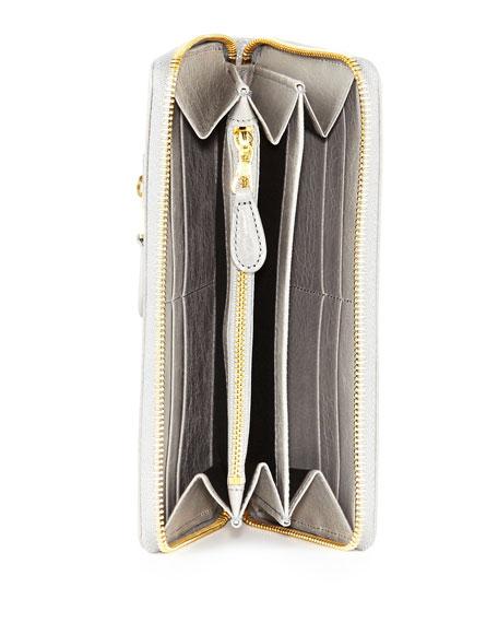 Giant Golden Continental Zip Wallet, Gris Pyrite