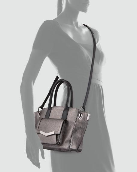 Mini Jo Metallic Tote Bag, Mica/Gunmetal