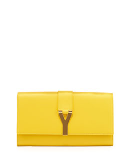 Saint Laurent Y Ligne Clutch Bag, Yellow