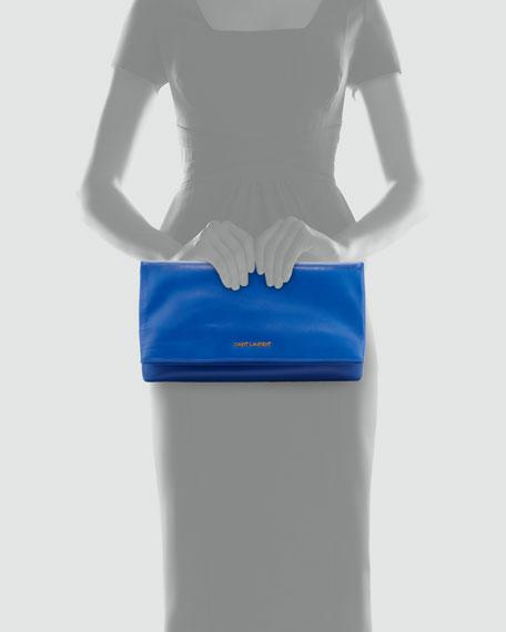 Letters Large Fold-Over Clutch Bag, Bleu Major