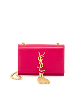 Saint Laurent Cassandre Small Tassel Crossbody Bag, Pink