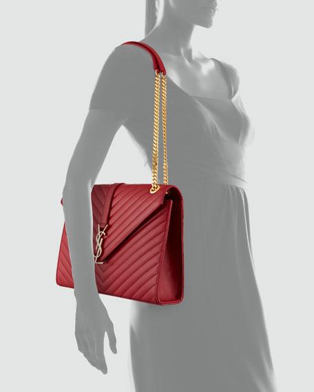 Cassandre Quilted Flap Shoulder Bag, Rouge