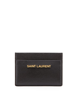 Saint Laurent Letters Credit Card Case, Black