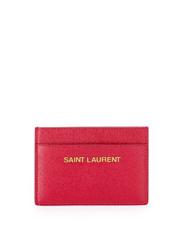 Saint Laurent Letters Credit Card Case, Pink