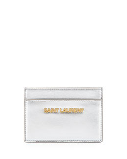 Saint Laurent Letters Credit Card Case, Platine