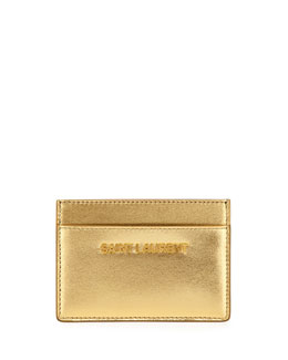 Saint Laurent Letters Credit Card Case, Gold