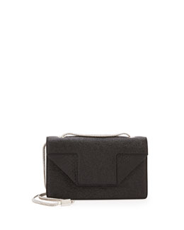 Saint Laurent Betty Mini Embossed Chain Shoulder Bag, Black