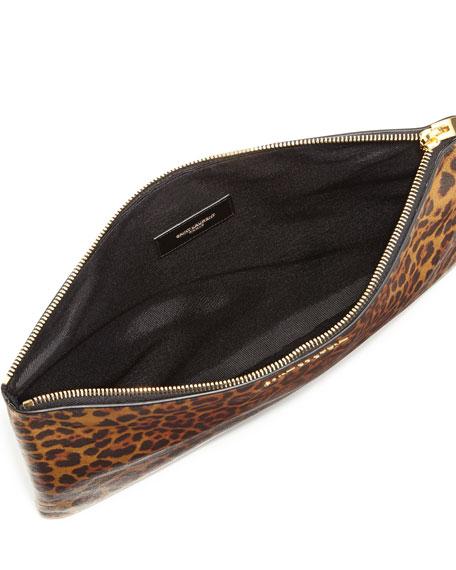 Letters Medium Zip Clutch Bag, Leopard
