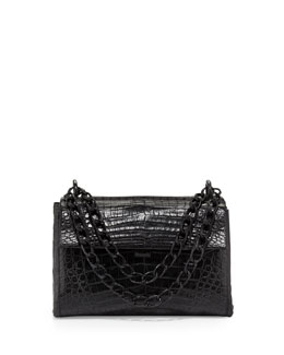Nancy Gonzalez Crocodile Small Flap Shoulder Bag, Black