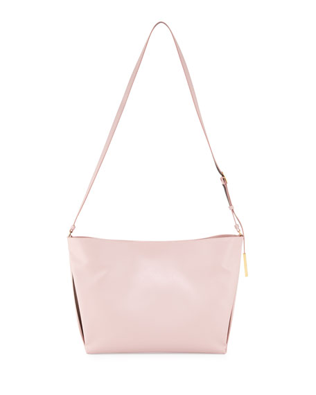 Beckett Small Faux-Napa Shoulder Bag, Pale Pink