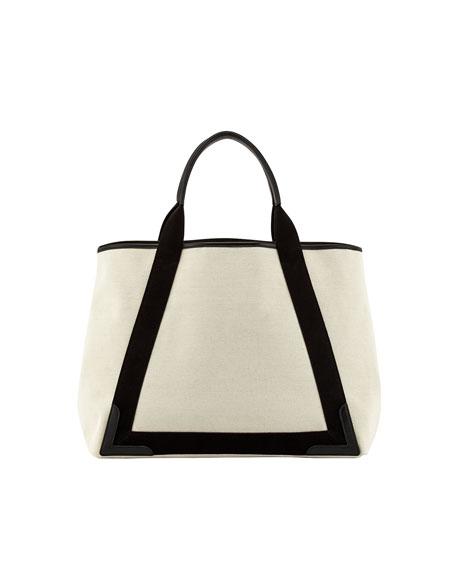 Navy Cabas Medium Tote Bag, Black/Natural