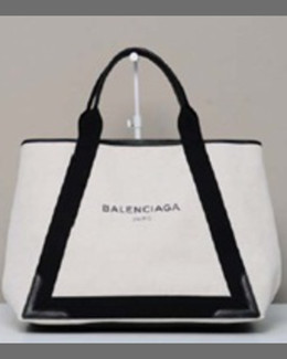 Balenciaga Navy Cabas Medium Tote Bag, Black/Natural