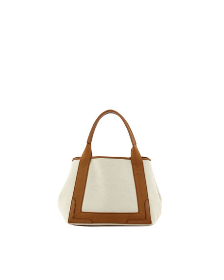 Navy Cabas Small Tote Bag, Camel/Natural